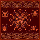 Spiders -  vector set. Designs and elements for pattern — Stock Vector