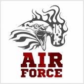 Bize hava kuvvetleri - askeri tasarım. vektör çizim. — Stok Vektör