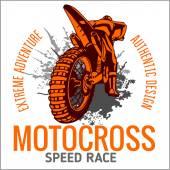 Motocross spor amblemi — Stok Vektör