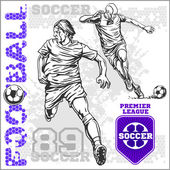 Soccer and football players plus emblems for sport team — Stock Vector