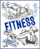 Womens Fitness palestra - Stock in vettoriale — Vettoriale Stock