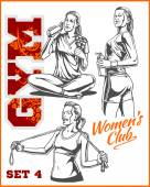 Fitness girls - vector set. — Stock Vector