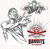 Bandits and hooligans - criminal nightlife — Stock Vector