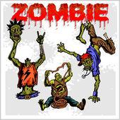 Cartoon zombie - vector set. — Stock Vector