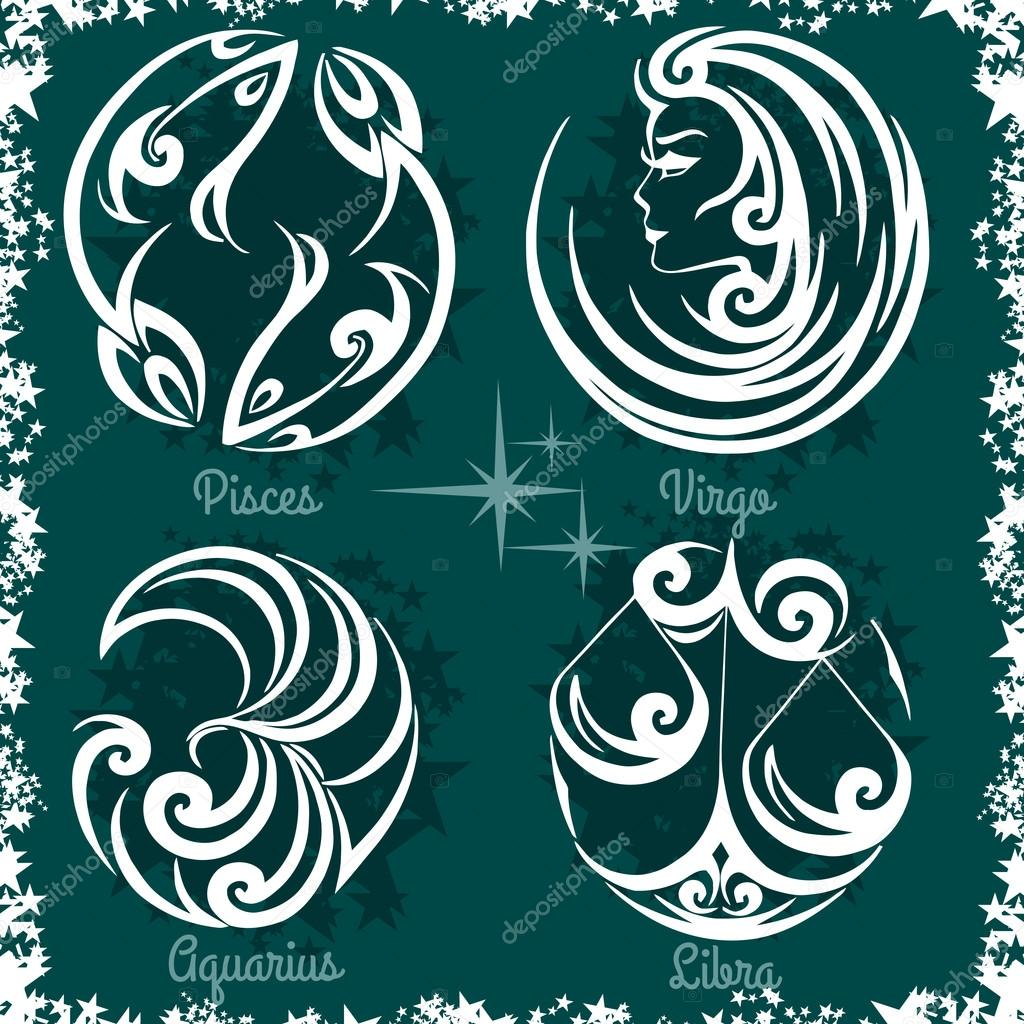 signos del zodiaco virgo libra acuario piscis vector de stock 80673338. Black Bedroom Furniture Sets. Home Design Ideas