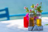 Bottles of Olive Oil And Vinegar On The Table in Greece — Stock Photo