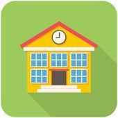 Skola byggnad ikonen — Stockvektor