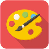 Paint brush with palette icon — Stock vektor