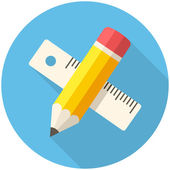Pencil with ruler icon — Stock Vector