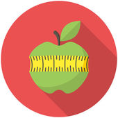 Green apple with measuring tape icon — Stock Vector