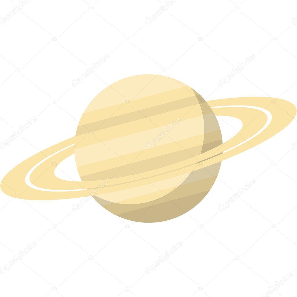 土星,平面设计,矢量图中,白色背景上孤立– 图库插图