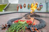 The eternal fire in Memorial in Murmansk — Stock Photo