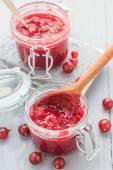 Jars gooseberry jam wooden table — Stock Photo