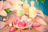 Composition spa bathing salts natural flavors — Stock Photo
