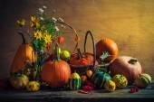 Halloween autumn fall pumpkin setting table still life vintage — Stock Photo