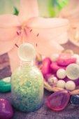 Spa concept flower lily salt bathing — Stock Photo