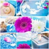 Wellness collage floral water bath salt spa series — Stock Photo