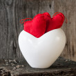 Two red hearts twig board white cup — Stock Photo #52895635