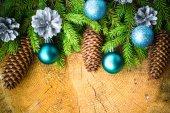 Christmas tree spruce pine wooden Christmas balls — 图库照片