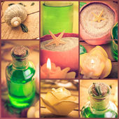 Wellness collage floral water bath salt spa series collage — Stock Photo