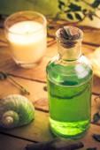 Closeup aromatic massage oil element wellness — Stock Photo