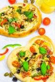 Closeup pizza cheese meat vegetables — Photo
