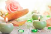 Scented candles salt bath attributes relaxation — Stock Photo