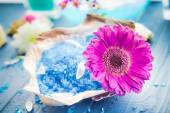 Spa concept aromatic flower bath salt — Stock Photo