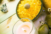 Wellness spa concept scented candle — Stock Photo