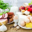 Composition variety grocery products meat dairy — Stock Photo #54316369