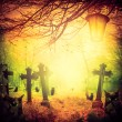 Halloween illustration night cemetery Old graves cats lanterns — Stock Photo #54316763
