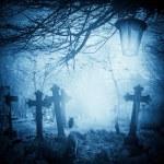 Halloween illustration night cemetery Old graves cats lanterns — Stock Photo #54316845