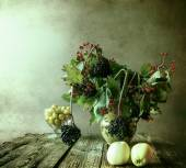 Autumn bouquet Still Life sprigs elderberry — Stock Photo