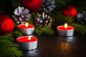 Christmas tree candle wooden Christmas — Zdjęcie stockowe