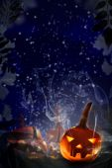 Halloween project pumpkins night starry sky — Stock Photo