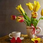 Still life bouquet yellow tulips hearts — Stock Photo #57066851