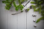 Christmas setting composition gifts forest — Stock Photo