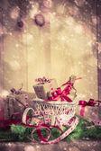 Atlı kızak iğneler önümüzdeki kar yağıyordu Noel hediyeleri tatil — Stok fotoğraf
