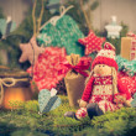 Santa Claus Christmas ornaments green pine needles cones gifts — Stock Photo #58863419