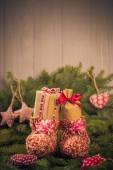 Christmas gifts handsewn socks decorations branches spruce — Stockfoto