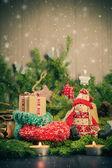 Christmas handmade sock Mascot tree decorations pine needles — Stock Photo