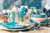 Christmas xmas eve table board setting — Stock Photo