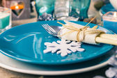 Christmas xmas eve table board setting — Stock Photo