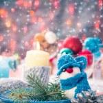 Christmas festive xmas eve table board setting New Year snowman — Stock Photo #59219731