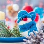 Christmas festive xmas eve table board setting New Year snowman — Stock Photo #59219735