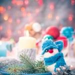 Christmas festive xmas eve table board setting New Year snowman — Stock Photo #59219749