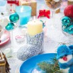 Christmas festive xmas eve table board setting New Year snowman — Stock Photo #59219757