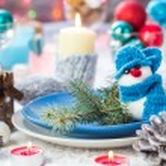 Christmas festive xmas eve table board setting New Year snowman — Stock Photo #59219763