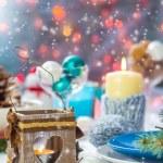 Christmas festive xmas eve table board setting New Year snowman — Stock Photo #59219771