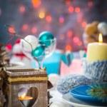 Christmas festive xmas eve table board setting New Year snowman — Stock Photo #59219773